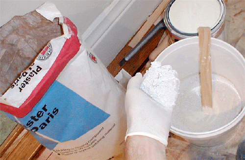 mixing plaster compound