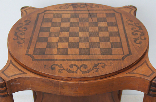 painted wood inlay game table