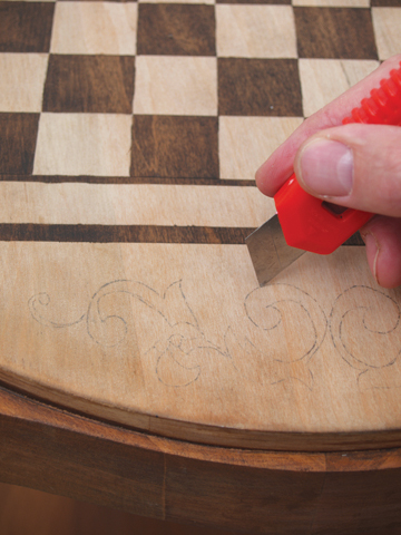 how to make a simulated wood inlay game table