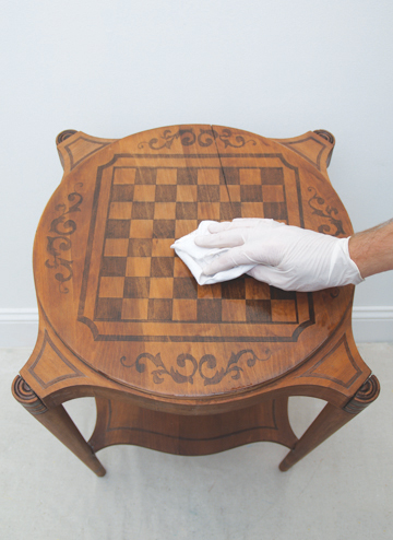 how to make a painted inlay  game table