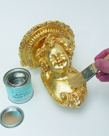 how to apply clear sealer to gold leaf