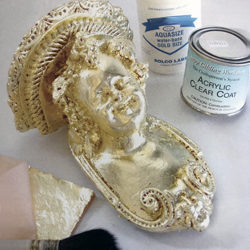 Gilding with waterbased adhesive size