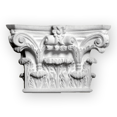 Cast plaster column capital