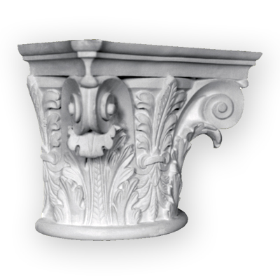 Hand cast ornamental plaster column capital