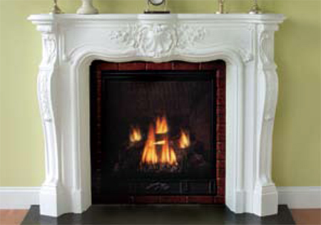 decorative Normandie plaster fireplace mantle
