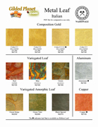 aluminum and imitation Silver color chart