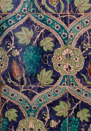 Hand glazed tiles with rich color and patterns.